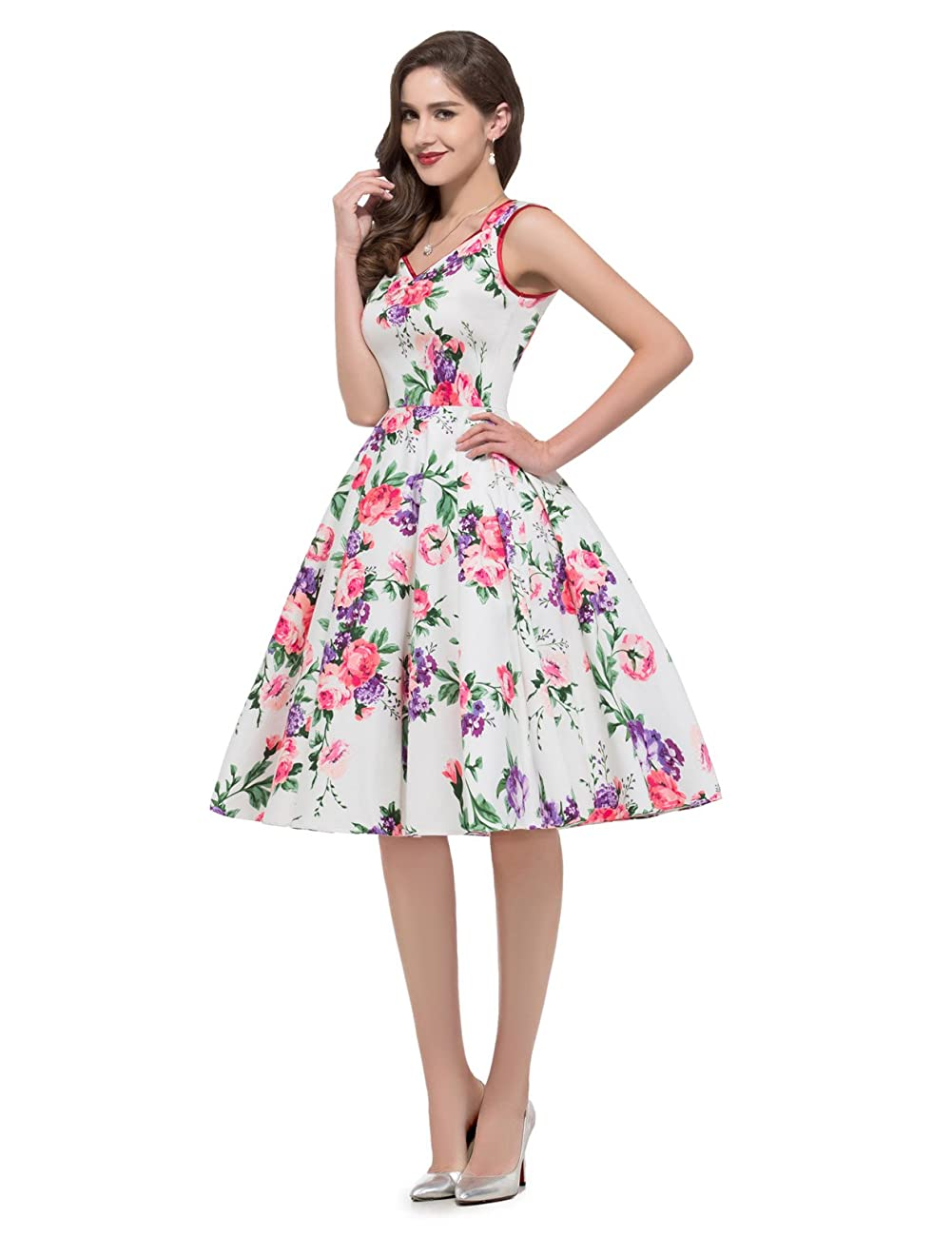 GRACE KARIN Women Floral Homecoming Prom Dress Short for Women CL7600 4