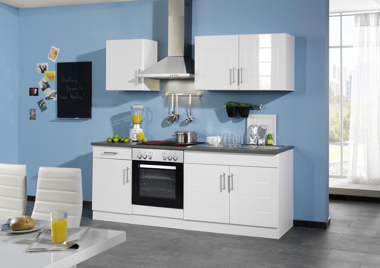 Held Möbel 689.6033 Küchenzeile 210 in Hochglanz-weiß / anthrazit mit E-Geräten