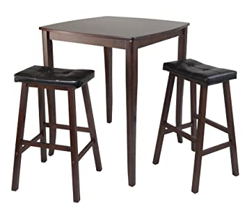 3Pc Inglewood High/Pub Dining Table With Cushioned Saddle Stool