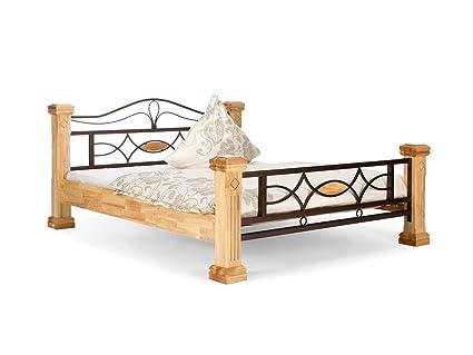 massivum Bett Byzanz 160x200cm Rubberwood natur gebeizt und lackiert