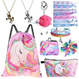 Standie 9PCS Drawstring Backpack for Unicorn Gift for Girls Include Makeup Bag Bracelet Necklace Set Hair Ties for Unicorn Party Favors (Color: Pink)