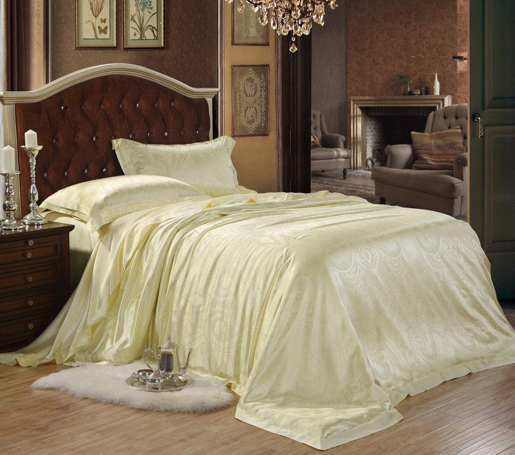 Orifashion Limited Edition Luxury 5-Piece 100% Silk Bright Yellow Floral Pattern Jacquard Bedding Set, California King Size