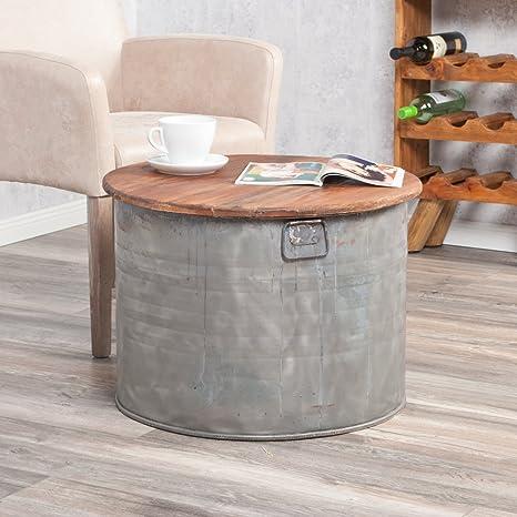 Couchtisch INDO DRUM Ø ca.60cm aus Zink & Holzdeckel (abnehmbar) Tonne Beistelltisch