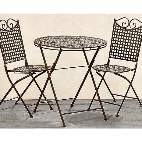 Set da giardino Lina, con un tavolo e due sedie, in metallo