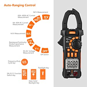 Clamp Meter, CM05 Clamp Multimeters, 6000 Counts,AC/DC Voltage Tester, AC Current Detector, AC Signal Frequency, VFC, NCV, Resistor, Capacitor, Diode, Duty Cycle, Continuity Tester (Color: Black&Orange, Tamaño: CM05)