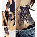 DaLin Large Temporary Tattoos, 4 Sheets (Blue Owl)