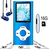MP3 Player/MP4 Player, Hotechs MP3 Music Player with 16GB Memory SD card Slim Classic Digital LCD 1.82'' Screen with FM Radio, (16GB-Blue-01LX) (Color: 16GB-Blue-01LX)