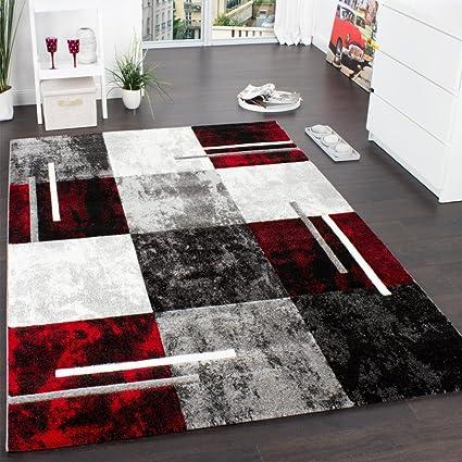 Designer Teppich Modern mit Konturenschnitt Karo Muster Grau Schwarz Rot, Grösse:80x150 cm