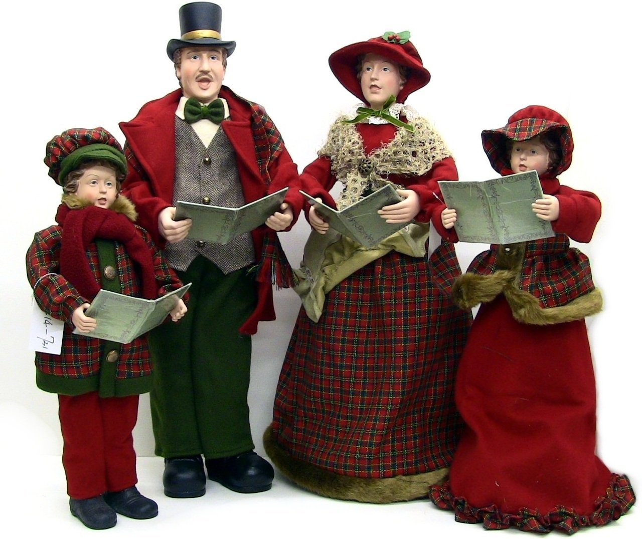 Christmas Holiday Collectible Figurines Fabric Caroler Family Set of 4 Pcs