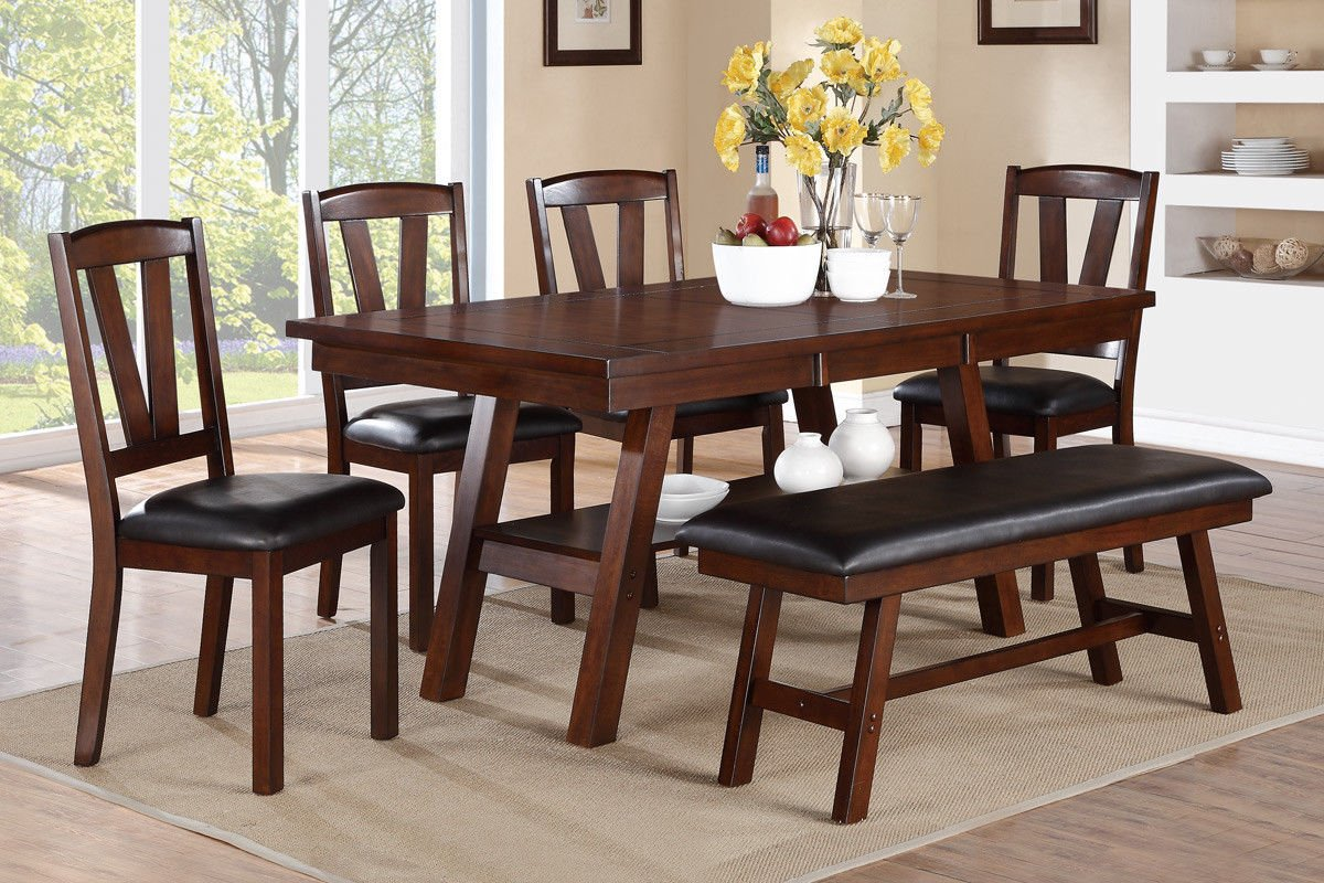 Poundex F2271 amp F1331 F1332 Dark Walnut Table Chairs