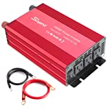 Soyond 1000W Car RV Power Inverter DC 12V to 110V 120V 3 AC Outlets Home Car RV Solar Power Converter for Household Appliances For Emergency, Hurricane, Storm and Outage (Color: Red, Tamaño: 1000W)