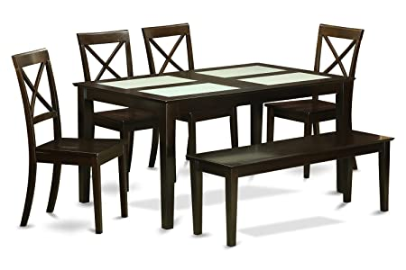 East West Furniture CABO6G-CAP-W 6-Piece Dining Table Set with Bench
