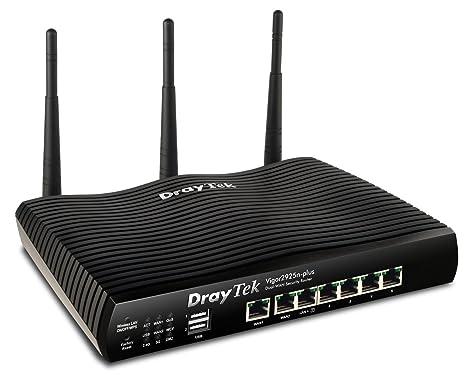 DrayTek Vigor 2925n-plus DualWAN Gigabit Router - sans Modem avec 2xGigaBit WAN, 5xGigaBit LAN, 2xUSB, 50xVPN, 25xSSL-VPN, VLAN,WLAN nach 802.11n(2,4/5GHz)100256