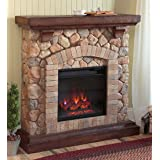 Stacked Stone Free Standing Electric Fireplace Heater Realistic Flames 5 Flame Patterns Speeds Brightness Settings Faux Stone Wood Mantel Remote Control Auto Off Timer 40 W x 12 D x 40 H (Color: Multicolored)