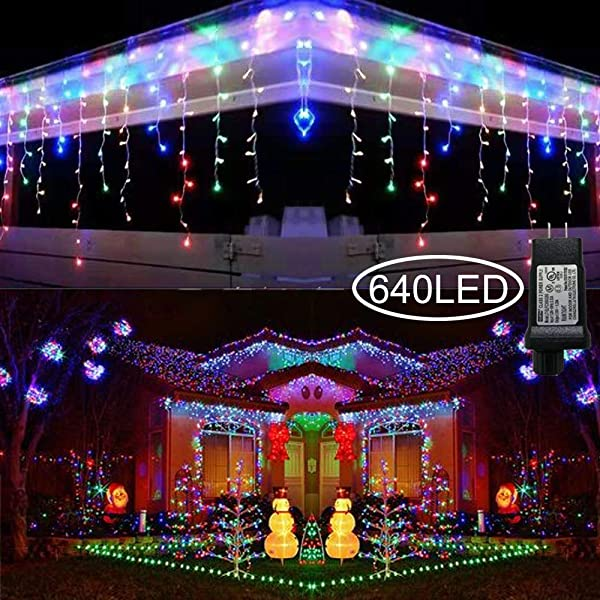 Hezbjiti 8 Modes LED Icicle Lights,65.6 FT 640 LED 120 Drops Fairy String Lights Plug in Extendable Curtain Light String Christmas Lights for Bedroom Patio Yard Garden Wedding Party (Multicolor) (Color: MultiColor)