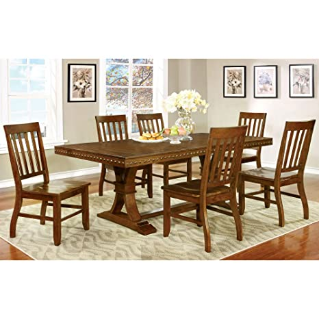 Furniture of America Fort Wooden 7 Piece Dining Table Set