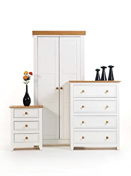 NEW CAPRI BEDROOM SET - WARDROBE + CHEST + BEDSIDE IN WHITE AND WAXED PINE