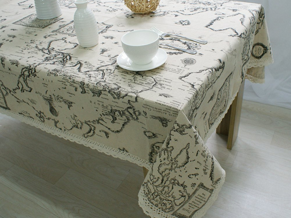 Kingmerlina Cotton Linen Rectangle Map Print Vintage Tablecloth Multi Size 1