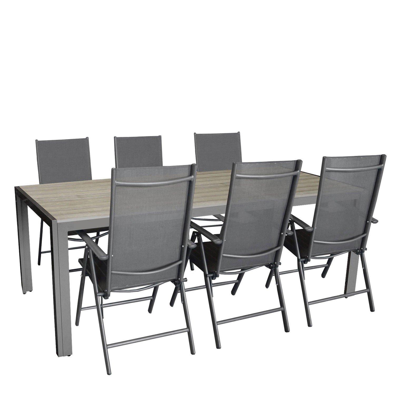 7tlg. Gartengarnitur, Aluminium Gartentisch mit Polywood-Tischplatte Grau 205x90cm + 6x Aluminium-Hochlehner mit 2×2 Textilenbespannung, 7-fach verstellbar, klappbar, anthrazit / Sitzgruppe Sitzgarnitur Gartenmöbel Terrassenmöbel kaufen