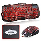 MFTEK Backlit Wired Gaming Keyboard and Mouse Combo with LED Gaming Headset Set, 40mm Speaker Driver Headphone + Mouse Pad for PC Gamer Computer Office (Color: Keyboard+Mouse)
