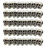 QTMY 50 PCS 4mm Macroporous Skull Spacer Beads for Jewelry Making Supplies in Bulk (Color: Antique Silver)