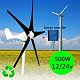 Davitu Alternative Energy Generators - 500W Max 600W Wind Turbine Generator DC 12V 24V with 5 Blade Windmill + Charge Controller - (Voltage: DC 12V) (Color: DC 12V)