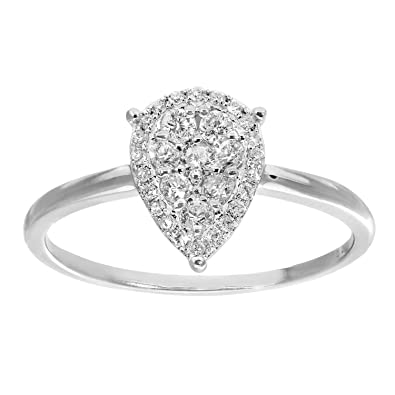 Naava 18 ct White Gold Pave Set 0.30 ct Diamond Teardrop Ring - Size J