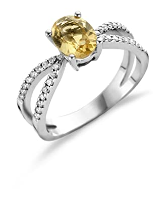 Miore 18 Carat (750) White Gold 52 (16.6) Women's Ring with citrine and 32 (0,17 ct) Diamonds M0523W