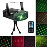 LED Laser Party Lights Projector Zacfton Led Stage Lights Mini Auto Flash RGB Sound Activated for Disco DJ Party Home Show Birthday Wedding Halloween Christmas Holiday Black (Black) (Color: Black)