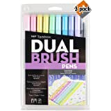 Tombow 56187 Dual Brush Pen Art Markers, Pastel, 10-Pack. Blendable, Brush and Fine Tip Markers - 3 Pack (Color: 3 Pack (Pastel))