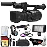 Panasonic AG-UX180 4K Premium Professional Camcorder with 128GB Memory Card, Filter Kit, Professional Microphone, LED Video Light, Studio Headphones, and Standard Accessories (Tamaño: Platinum)