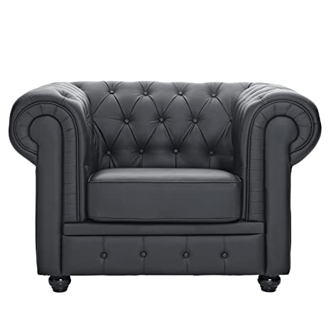 LexMod Chesterfield Armchair in Black Leather and Leather Match