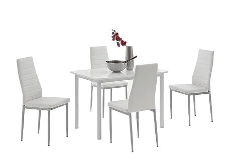 5-tlg. Essgruppe Anke I, Holzwerkstoff hgl. weiß, Kunstleder weiß, 110 x 70 x 75 cm, Apollo