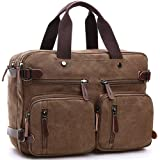 CESU Laptop Bag Hybrid Briefcase Backpack Messenger Bag for Men Women (BROWN) (Color: Brown, Tamaño: large)