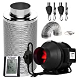 VIVOSUN 4 Inch 190 CFM Inline Fan with Speed Controller, 4 Inch Carbon Filter and 8 Feet of Ducting, Temperature Humidity Monitor for Grow Tent Ventilation (Tamaño: 4 Inch Combo)