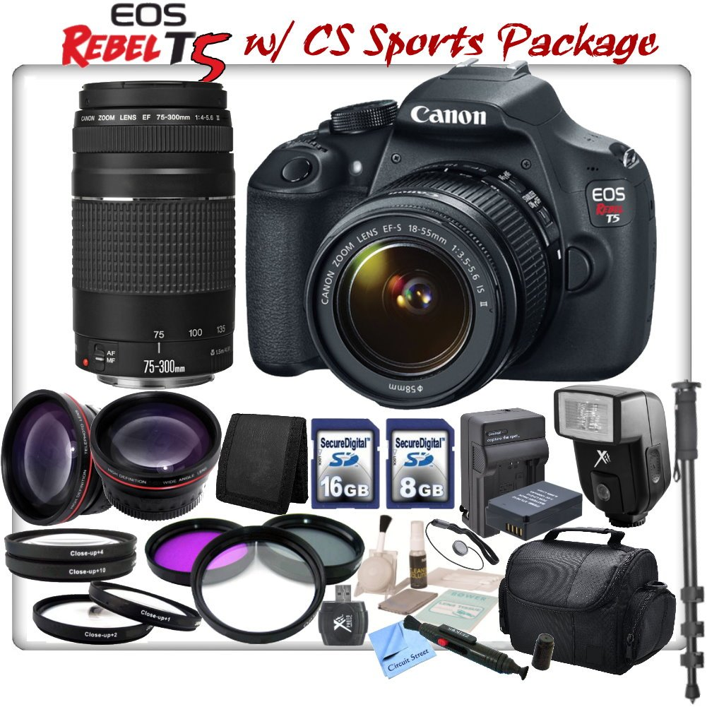 Canon EOS Rebel T5 Digital SLR Camera With Canon EF-S 18-55mm IS II Lens & Canon EF 75-300mm f/4-5.6 III Lens & CS Sports Action Package: Includes HD Wide Angle Lens ..