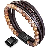 murtoo Leather Bracelet Magnetic-Clasp Cowhide Braided Multi-Layer Wrap Mens Bracelet, 7.5-8.7 Inches(Brown Bead 8.7) (Color: Men brown bead 8