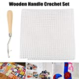 LuffyBin-Wood Handle Crochet Hooks Grid Cloth Set Diy Weave Needles Knitted Making 2019ing - Sizes Universal Thick Gold Needles Thin Yarn Size Made Knitting Upholstery Case Large Pins Mu