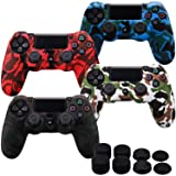 MXRC Silicone rubber cover skin case anti-slip Water Transfer Customize Camouflage for PS4/SLIM/PRO controller x 4(black & white & red & blue) + FPS PRO extra height thumb grips x 8 (Color: Print 4 Pack Black White Red Blue, Tamaño: Print Pack)