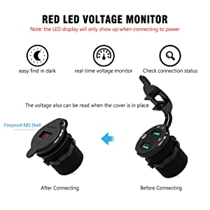Quick Charge 3.0 USB Charger Socket Dual USB Car Power Outlet Waterproof Marine Cigarette Lighter Adapter 36W Fast Charge with LED Voltmeter for 12V/24V Boat Motorcycle ATV Bus Truck QC 3.0 Red (Color: QC3.0 with voltmeter)