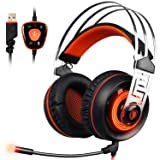 Acekool SADES A7 7.1 Virtual Sound USB Gaming Headset with MIC LED Linght Sound Card Chip (Orange) (Color: Orange)