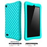 Bear Motion Silicone Case for All-New Fire 7 Tablet with Alexa - Anti Slip Shockproof Light Weight Kids Friendly Protective Case for Amazon Kindle Fire 7 (ONLY for 7th Generation 2017 Model) (Turquoise) (Color: Green)