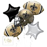 Andaz Press Balloon Bouquet Party Kit with Gold Cards & Gifts Sign, Saints Football Themed Foil Mylar Balloon Decorations, 1-Set (Color: Sports Saints)