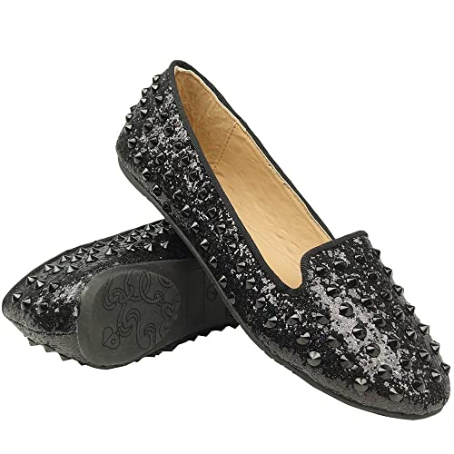 Official Slip On Glitter Loafers W/ Studded Spikes Comfort Flat Black Size 5.5-10 For Women Cheap Sale