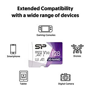 Silicon Power 128GB R/W up to 100/ 80MB/s Superior Pro Micro SDXC UHS-I (U3), V30 4K A1, High Speed MicroSD Card with Adapter (Color: U3/ Write up to 80MB/s -128GB)