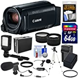 Canon Vixia HF R82 32GB Wi-Fi 1080p HD Video Camera Camcorder + 64GB Card + Battery & Charger + Hard Case + Tripod + LED + 2 Microphones + 2 Lens Kit (Color: Black)