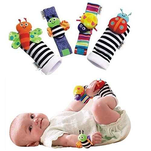 Makarine 4 x Baby Infant Soft Toy Wrist Rattles Hands Feet finders Developmental Baby Toy (Color Random)