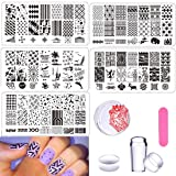 DAODER Nail Art Stamping Plates Templates Nail Stamping Plates for Nails Geometric Drawing Image Nail Art Plates Manicure Tools 5pieces