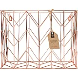 U Brands Hanging File Desk Organizer, Wire Metal, Copper/Rose Gold (Color: Copper/Rose Gold)