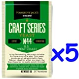 5x Mangrove Jack's Yeast M44 US West Coast Craft Series Yeast 10g treats 23L (Color: Ivory)